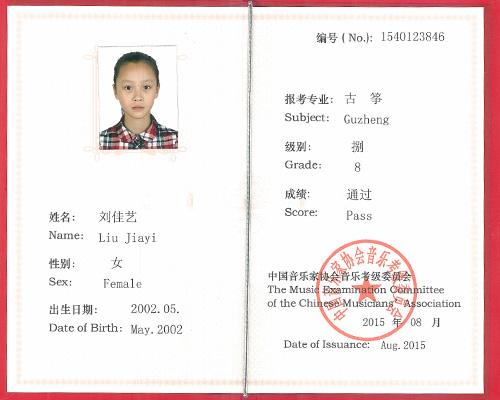 古筝考级-刘佳艺--通过8级考核