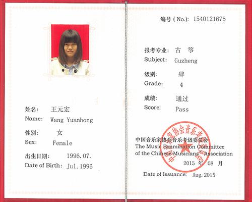 古筝考级-王元宏--通过4级考核
